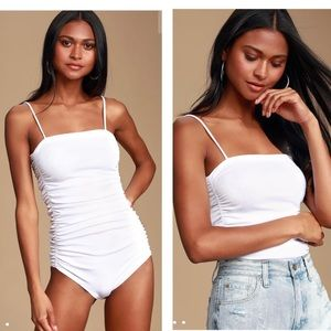 Free People On Your Side White Ruched Bodysuit XS